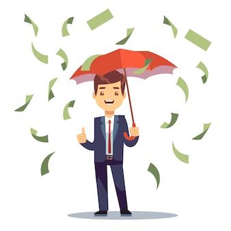L'uomo d'affari che sta con l'ombrello in soldi piove