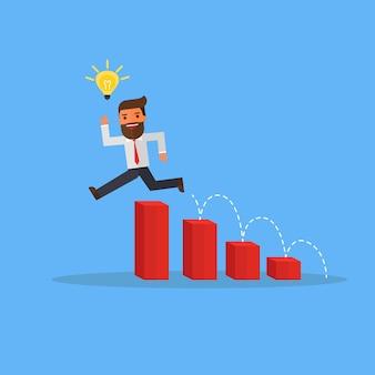 L'uomo d'affari con le lampadine di idea salta sopra i grafici