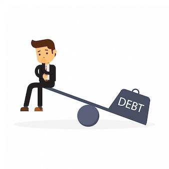 L'uomo d'affari con un accordo di prestito si siede sulle scale