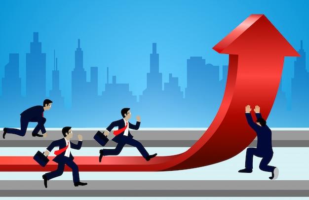 L'uomo d'affari corre e cambia le frecce delle direzioni rosse verso l'obiettivo per raggiungere il successo. andare alla crescita del target. comando