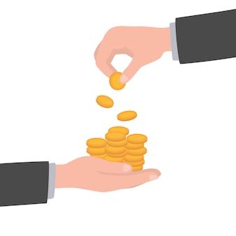 L'uomo d'affari dà all'uomo una moneta d'oro. ricevere denaro. trasferimento di contanti da mano a mano. dare una moneta concetto finanziario dando.