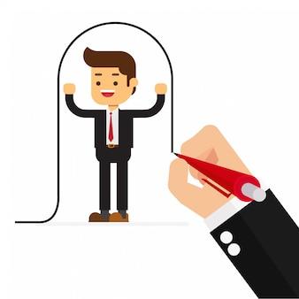 L'uomo d'affari disegna una linea che copre il cliente