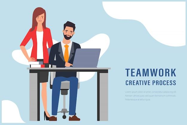 L'uomo d'affari e la donna d'affari si uniscono al personaggio che lavora. concetto di processo di lavoro di squadra.