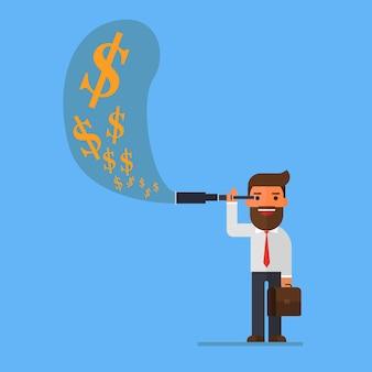 L'uomo d'affari facendo uso del telescopio vede i soldi