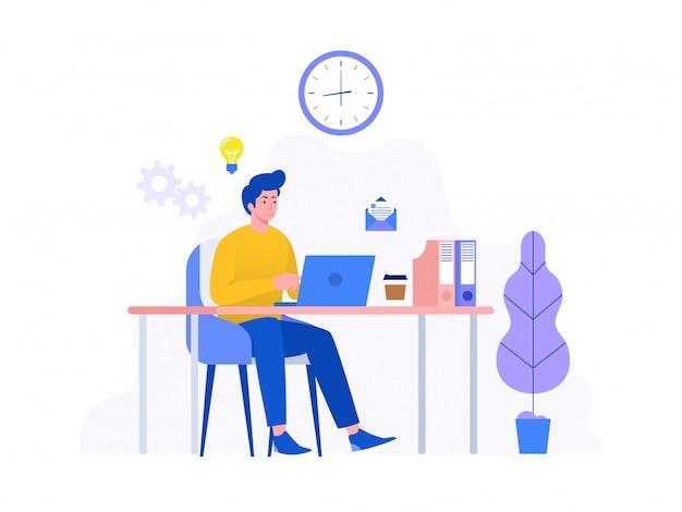 L'uomo d'affari felice che lavora con il computer portatile nel concetto dell'illustrazione dell'ufficio, impiegato sorridente che utilizza il computer e che beve il caffè, può usare per, pagina di destinazione, modello, interfaccia utente, web, homepage, manifesto,