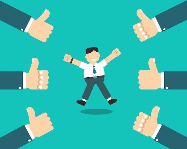 L'uomo d'affari felice con molti pollici aumenta le mani