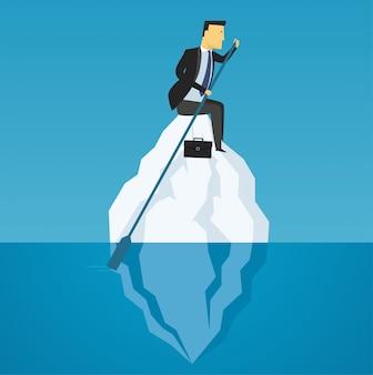 L'uomo d'affari galleggia sull'iceberg, sfida di affari