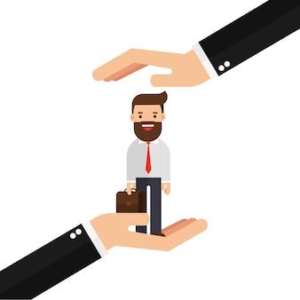 L'uomo d'affari in palma delle mani tiene il cliente