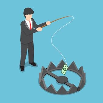 L'uomo d'affari isometrico ha rubato i soldi dalla trappola dell'orso dalla canna da pesca