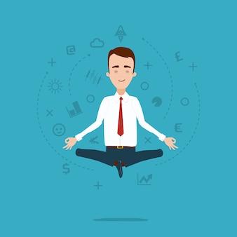 L'uomo d'affari medita nella posa del loto. nuvola di pensieri e idee