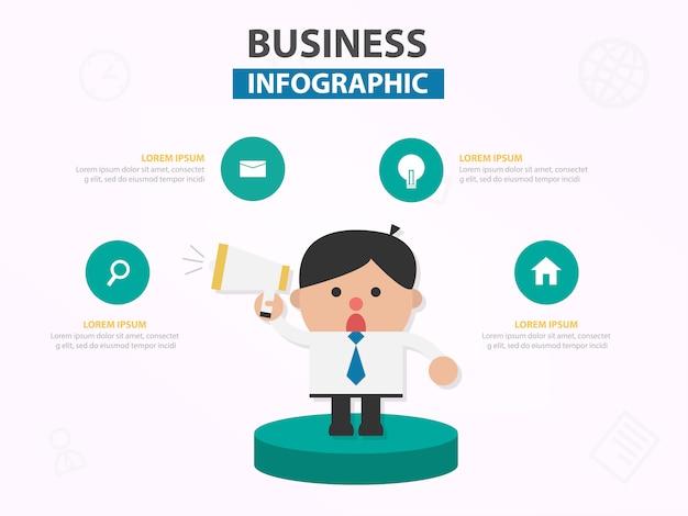 L'uomo d'affari parla al megafono infographic