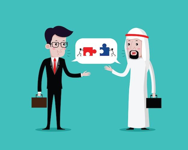 L'uomo d'affari parla della cooperazione commerciale