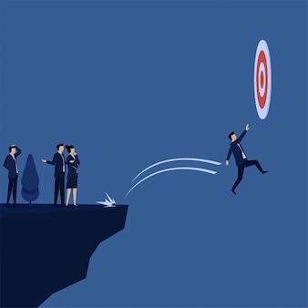 L'uomo d'affari piano di concetto di vettore di affari non riesce a raggiungere la metafora dell'obiettivo di perdita.