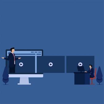 L'uomo d'affari piano di concetto di vettore di affari vede il video tutorial sulla metafora del monitor dell'apprendimento online.