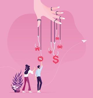 L'uomo d'affari prova a raccogliere i soldi dalla trappola dell'amo. il denaro come concetto di business trappola