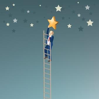 L'uomo d'affari raccoglie la stella