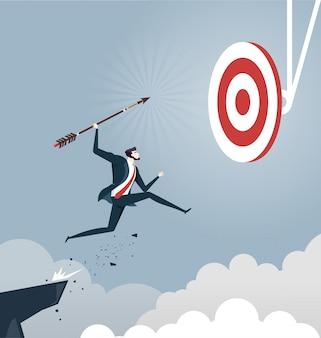 L'uomo d'affari salta la freccia di lancio all'obiettivo, concetto di successo di affari
