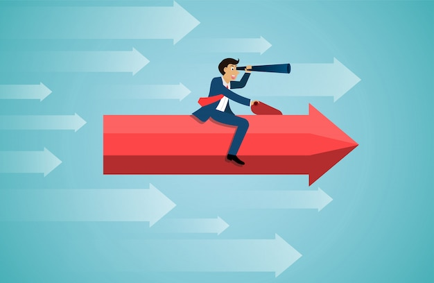 L'uomo d'affari si siede sul binocolo rosso della tenuta della freccia in avanti vola sul cielo va all'obiettivo di successo.