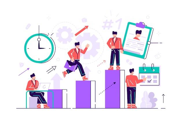 L'uomo d'affari stabilisce gli obiettivi e corre sulle colonne del grafico per successo in tempo. autogestione, apprendimento dell'autoregolazione, concetto di corso di auto-organizzazione. illustrazione vibrante viola vibrante luminosa
