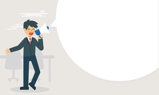 L'uomo d'affari tiene una pubblicità del megafono