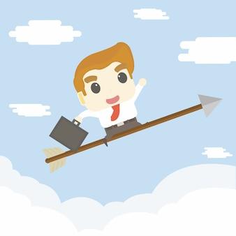 L'uomo d'affari vola al cielo sulla freccia, concetto di affari