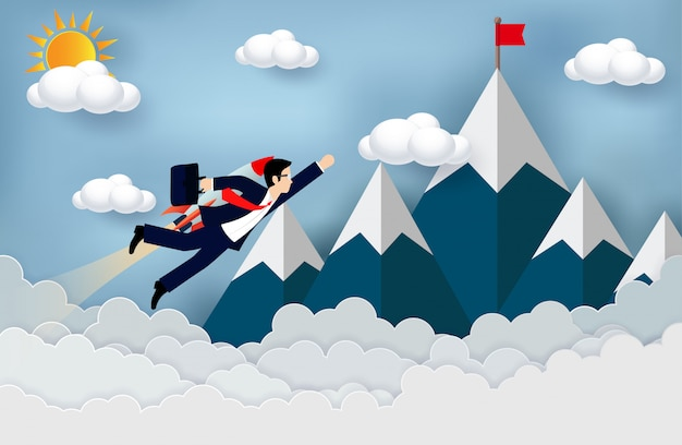 L'uomo d'affari vola con i motori a razzo in avanti verso l'obiettivo per raggiungere il successo. concetto di business
