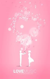 L'uomo dà confezione regalo alla fidanzata con nota musicale volante. sfondo di concetto per la canzone e il tema del concerto di musica d'amore