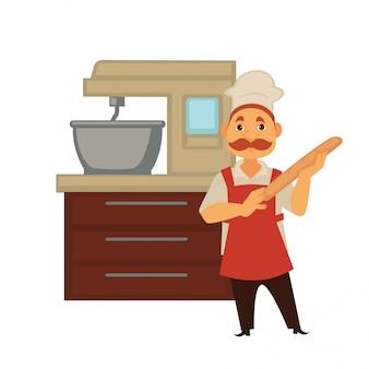 L'uomo del panettiere nel forno del forno cuoce il pane o impastare la pasta nell'icona isolata della gente di professione del panettiere di vettore del miscelatore