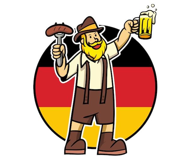 L'uomo della barba gode della salsiccia e della birra per celebrare l'oktoberfest.