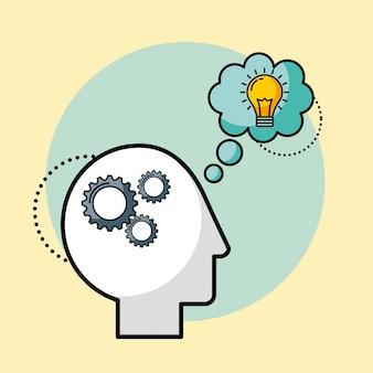 L'uomo della siluetta ingranaggi la creatività di idea del cervello