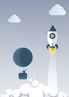 L'uomo di affari sull'aerostato segue il missile spaziale volante