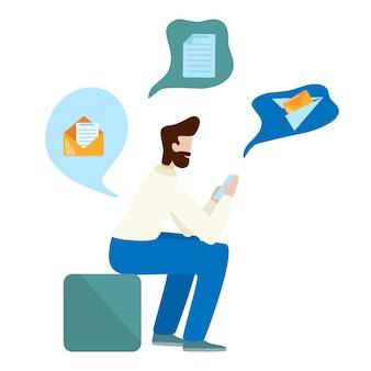 L'uomo di concetto usa lo smartphone. invia una email. uomo barbuto che si siede e che tiene telefono cellulare.