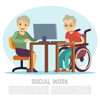L'uomo disabile in sedia a rotelle impara il computer