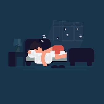 L'uomo dorme dolcemente nel suo letto nella sua camera da letto. notte