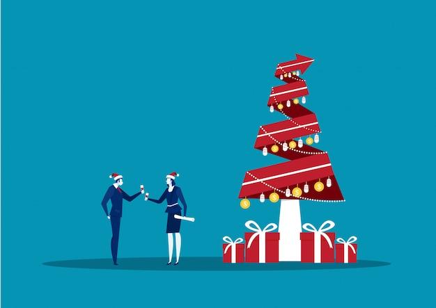 L'uomo e la donna di affari celebrano l'illustrazione piana del buon anno e di buon natale