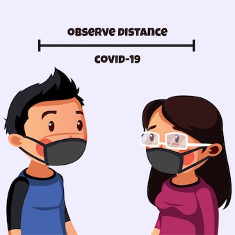 L'uomo e la donna indossano la maschera per ottenere un allontanamento sociale e un allontanamento fisico