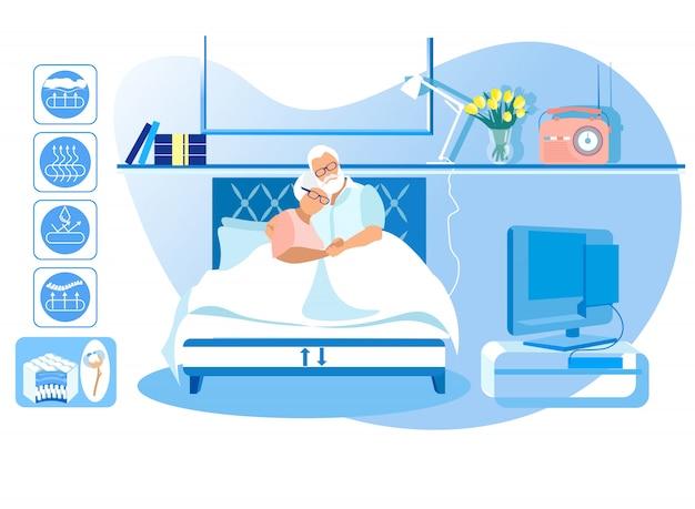 L'uomo e la donna maturi si trovano a letto a casa. vettore.