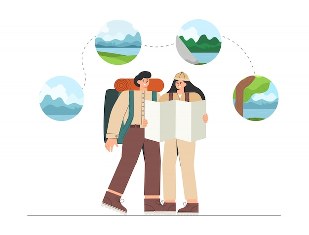 L'uomo e la donna pianificano un viaggio, tengono in mano una mappa e guardano le diverse opzioni di escursioni nei campi, scalare una montagna o andare al lago.