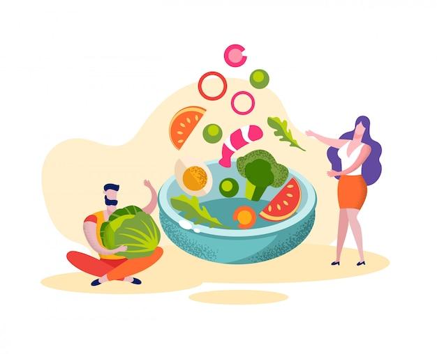 L'uomo e la donna preparano l'alimento vegano alimento sano