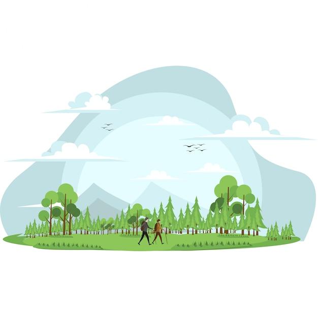 L'uomo e la donna stanno scalando insieme la montagna
