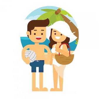 L'uomo e la donna vanno a viaggiare coppie adulte di vacanza estiva della spiaggia di progettazione piana di vettore fresco di estate che stanno con le palme della spiaggia