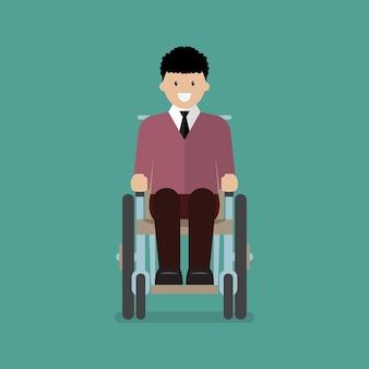 L'uomo è seduto su una sedia a rotelle