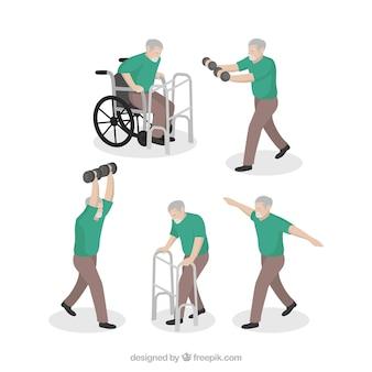 L'uomo fa esercizi di riabilitazione