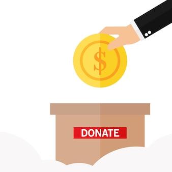 L'uomo getta una moneta d'oro in una scatola per le donazioni
