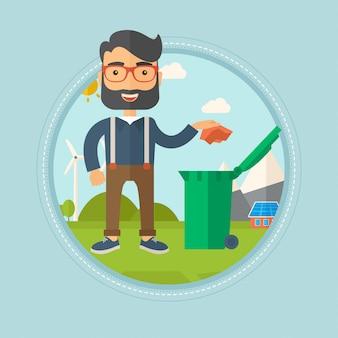 L'uomo getta via la spazzatura