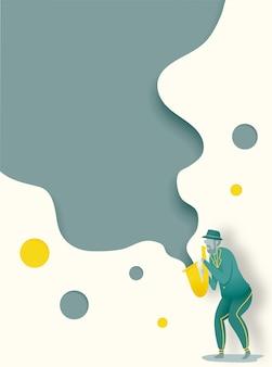 L'uomo gioca il sassofono nell'illustrazione di vettore di stile di arte di carta e di goccia