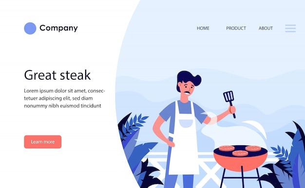 L'uomo grigliare bistecche all'aperto. modello di sito web o pagina di destinazione