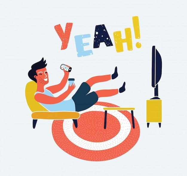 L'uomo guarda la tv sul sofà con l'illustrazione della tazza di caffè. guardare la tv e bere un caffè, rilassarsi a casa sul divano