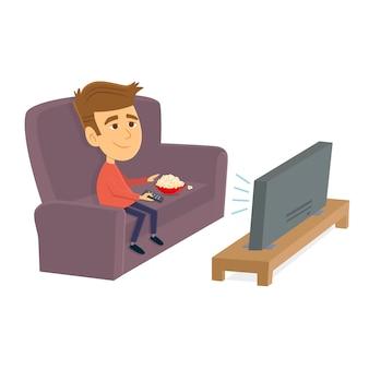 L'uomo guarda la tv