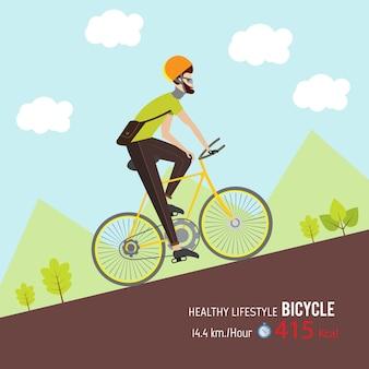 L'uomo guida la bicicletta per uno stile di vita sano.